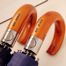 2015 New Arriver High Quality Automatic Thick Windproof Male Wooden Handle Hook Umbrella For Rain Man Umbrellas Three Folding(China (Mainland))