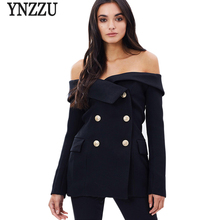 Chic 2017 New spring double breasted elegant blazer femme sexy off shoulder slim ladies blazer Women coat jacket outwear(China (Mainland))