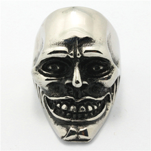 Mens Boys 316L Stainless Steel Polishing Skull Ring Newest