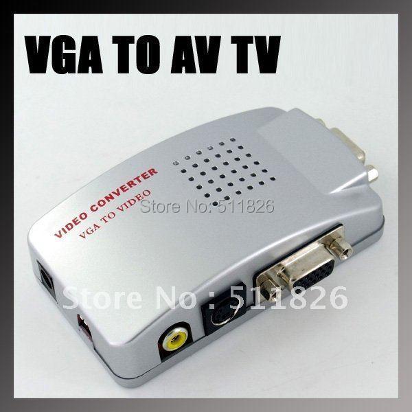 Free shipping Universal PC VGA to TV AV RCA Signal Adapter Converter Video Switch Box Supports NTSC PAL system 9804(China (Mainland))