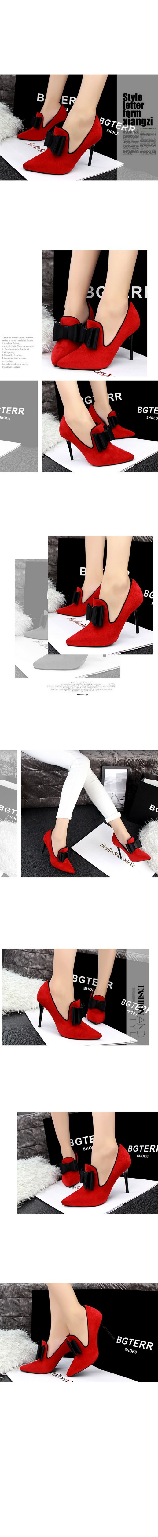 2016 New Fashion Thin High Heels Women Pumps Sweet Bowtie Pointed Toe Shoes New Arrival Women Shoes Zapatos Mujer ZM2.5