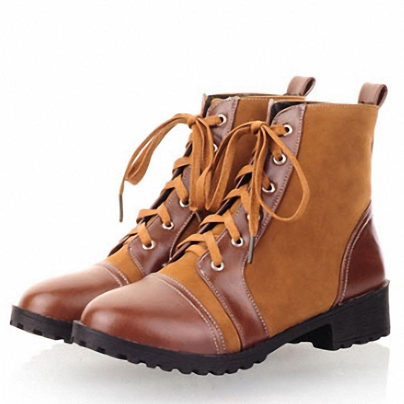 ENMAYERnew Women Ankle Boots Winter Fur Shoes flats Round toe Platform shoes Women Lace Martin Snow Boots College style 34-44<br><br>Aliexpress