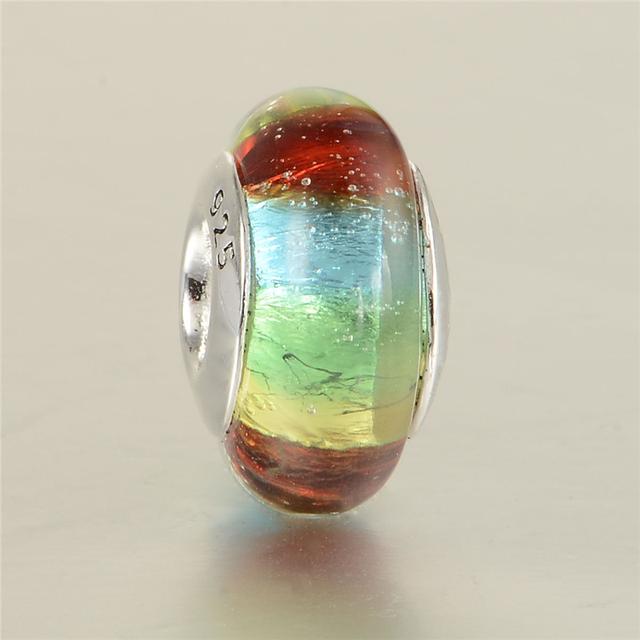 48019 радуга муранского стекла бусины 925 серебряные ювелирные изделия Fit пандора оригинальный подвески браслеты DIY ювелирных украшений