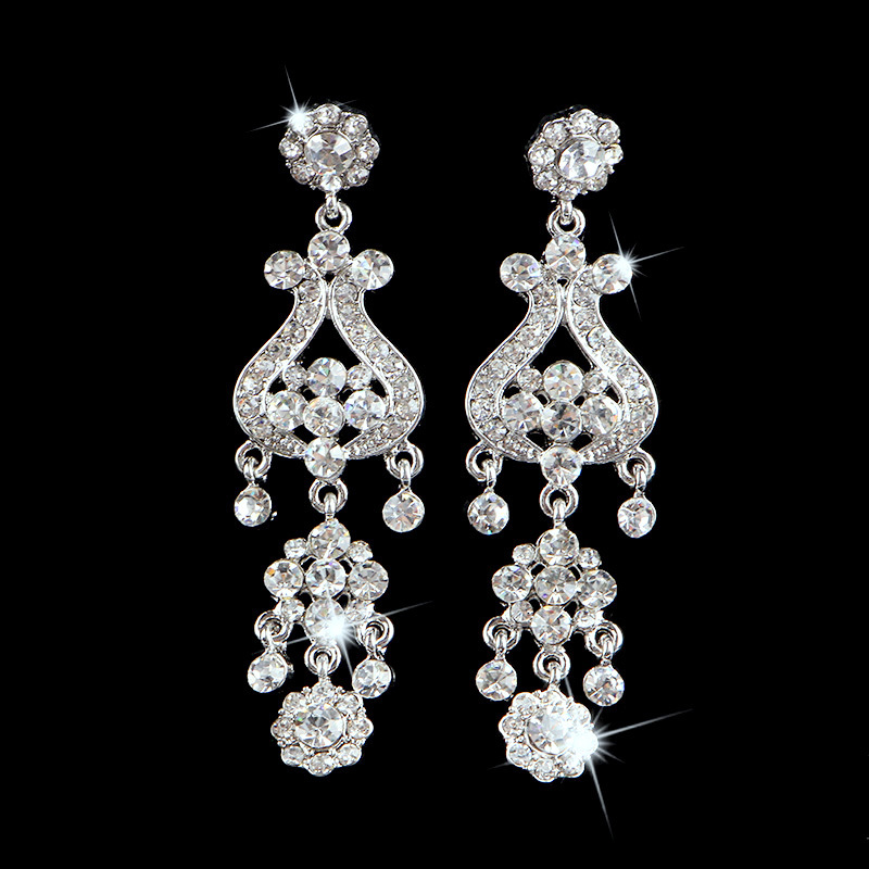 Luxury New SWA Element Crystal 80mm Long Dangle Chandelier Earrings Silver Plated Bridal Wedding Jewelry Accessories LE1031 - Dragon Decoration Co.,Ltd. store