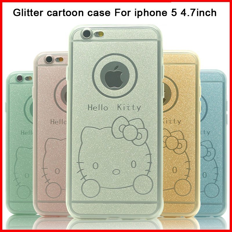 2015 I6 Super Flexible Glitter cartoon TPU Case shell for iphone 6 cases Slim Back Protect Skin shell,free shipping(China (Mainland))