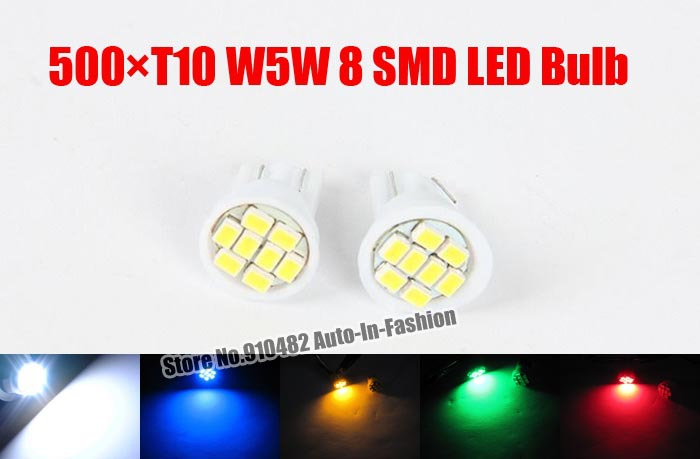 Freeshipping 500pcs/lot T10 W5W 8-SMD 3528/1210 LED License Plate Lights HID Xenon White 192 194 168 red yellow blue green color(China (Mainland))