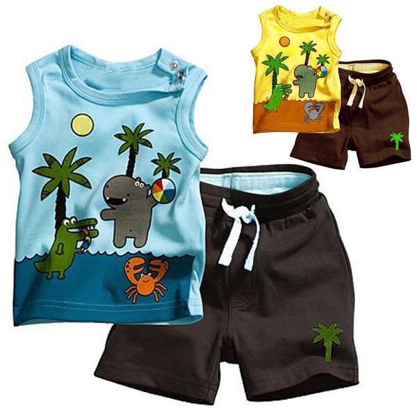 2PCS Children's Sets Boy's Sleeveless Tops+Pants Set Outfits Coconut Tree Clothes 0-3Y(China (Mainland))