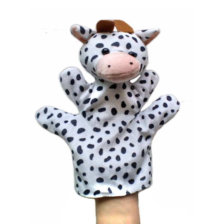 Free Shipping New Cow Cute Baby Children Child Zoo Farm Animal Hand Sock Glove Puppet Finger Sack Plush t(China (Mainland))