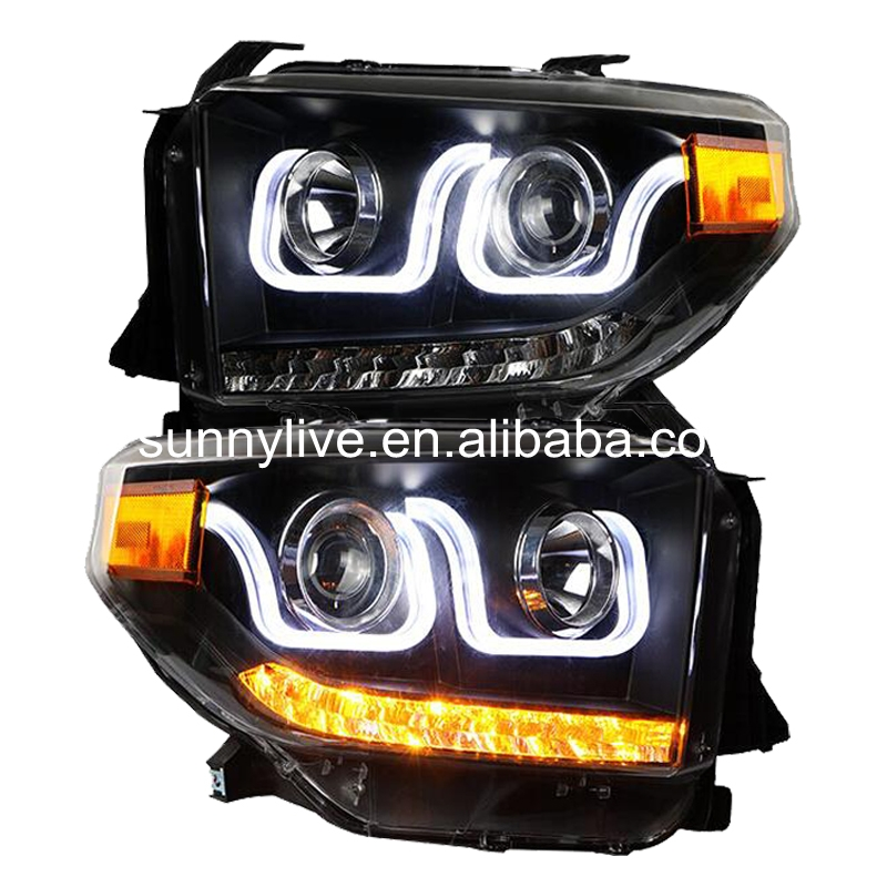 FOR TOYOTA for Tundra LED Head Lights 2014 year with U style Angel Eye Black Housing for original car with HID KIT LF(China (Mainland))