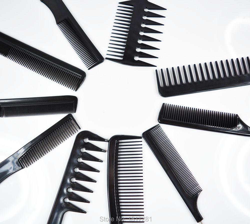 Barbers brush comb set Black Pro Salon Hair Styling Combs tools Hairdressing Plastic ( 10 Pcs )(China (Mainland))