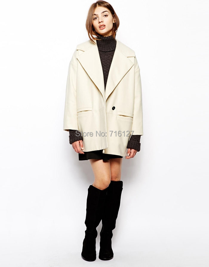 new 2014 autumn winter Plus Size simple fashion Retro-style large lapel double pocket women wool coat S-XXL - Odie's store