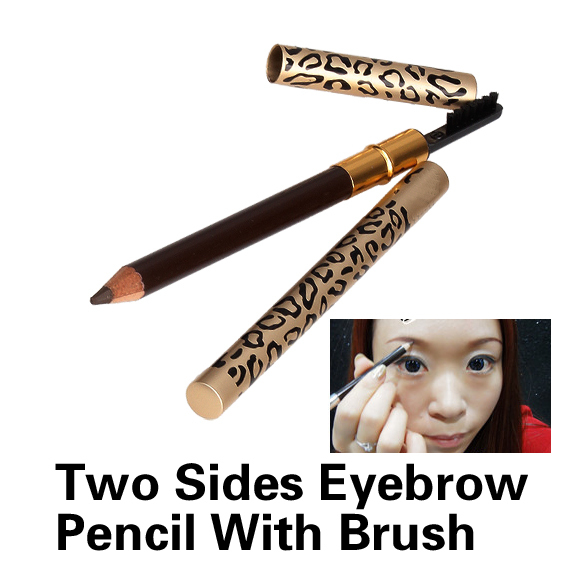 T2N2 New Eyebrow Pencil Two Sides With Brush Leopard Design Metal Casing Fashion(China (Mainland))