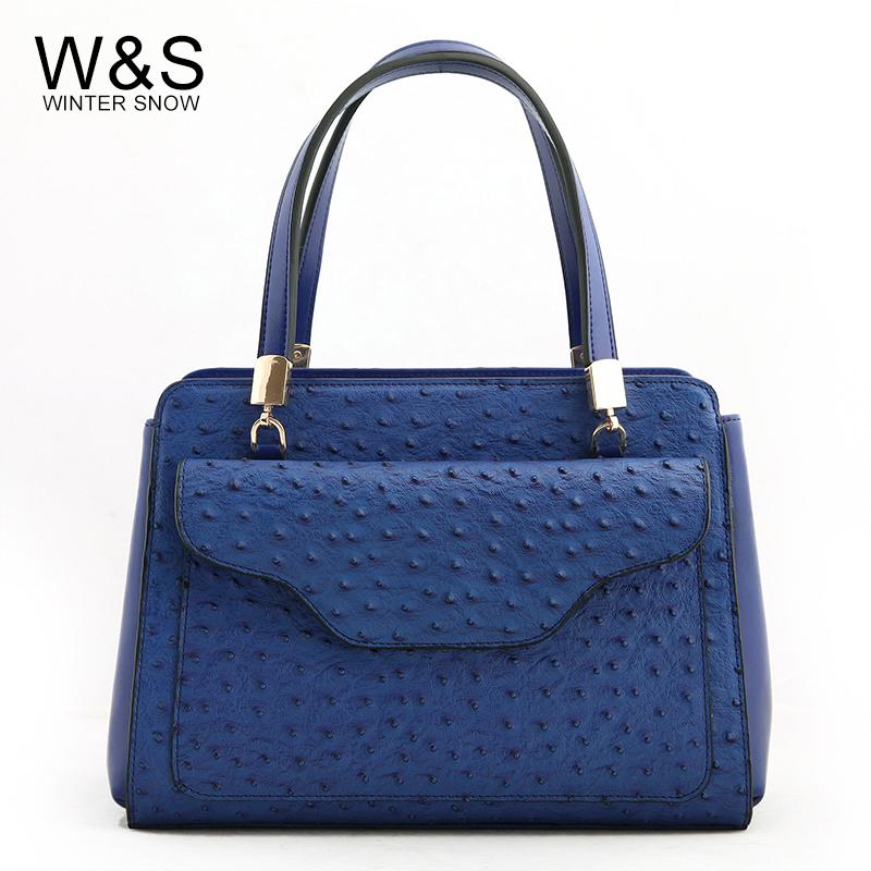 2014 women's Women handbag genuine leather ostrich handbag large bag one shoulder cross-body women's handbag(China (Mainland))