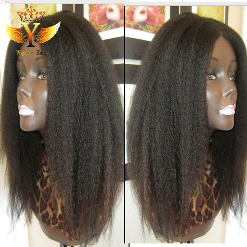 Unprocessed Malaysian Kinky Straight Full Lace Wig Virgin Human Hair Glueless Lace Front Kinky Straight/Coarse Yaki Wig FreeShip<br><br>Aliexpress