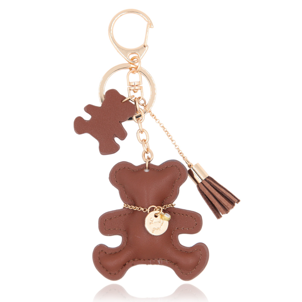 Leather Bear Key Chain Tassel Bag Accessory Animal Car Hanging Fashion Jewelry Gift 2016keyring(China (Mainland))