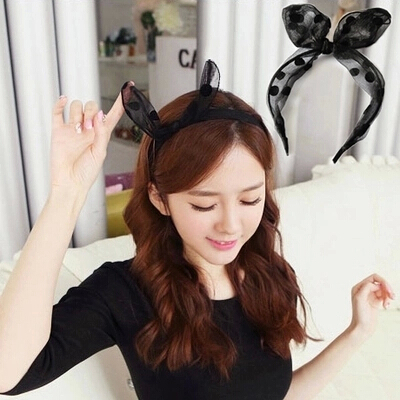 2016 Sweet Summer Style Silk Yarn Rabbit Ears Hairbands Black Dot Woman Headband Accessories(China (Mainland))