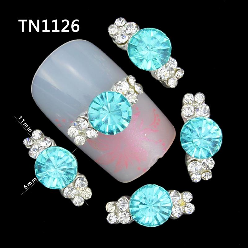 10 Pcs 3D Nail Art Decorations Diy Glitter Silver Alloy Charm Clear Rhinestones Light Blue Crystal For Nails Tools<br><br>Aliexpress