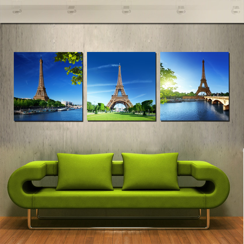 3 Panel Canvas Print Modern Decor Wall Pictures Paris Landscape Eiffel Tower Under Blue Sky Decoration Paintings No Frame Newest(China (Mainland))