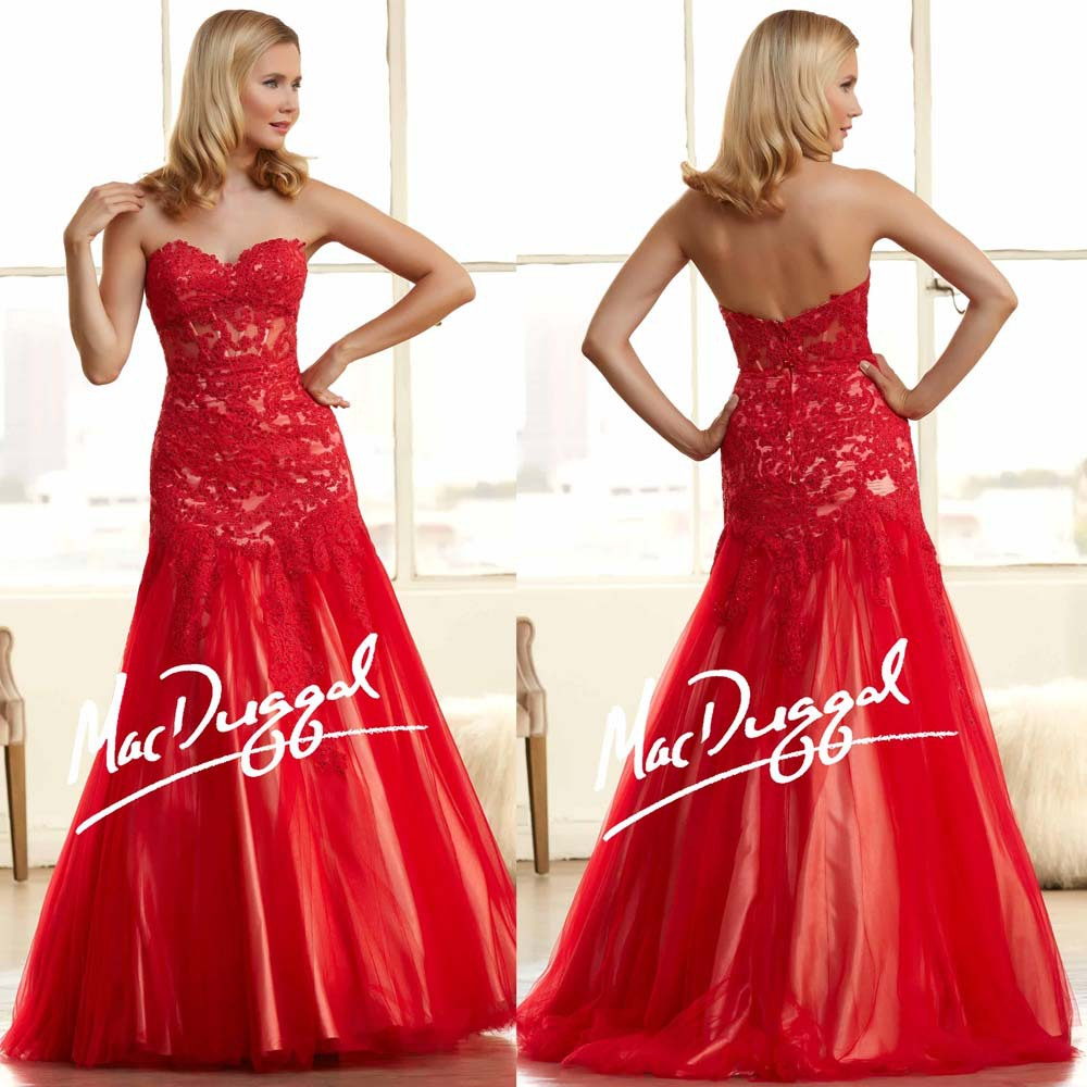 New Prom Dresses Backless Sweetheart Neckline Lace Appliques Beading Sequins Mermaid Red Evening Dresses 2015(China (Mainland))