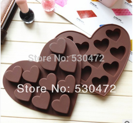 10 holes silicone heart-shaped chocolate mold / cake mold / pudding jelly mold / Ice Cube Tray 15.8cm*14.5cm*1.4cm