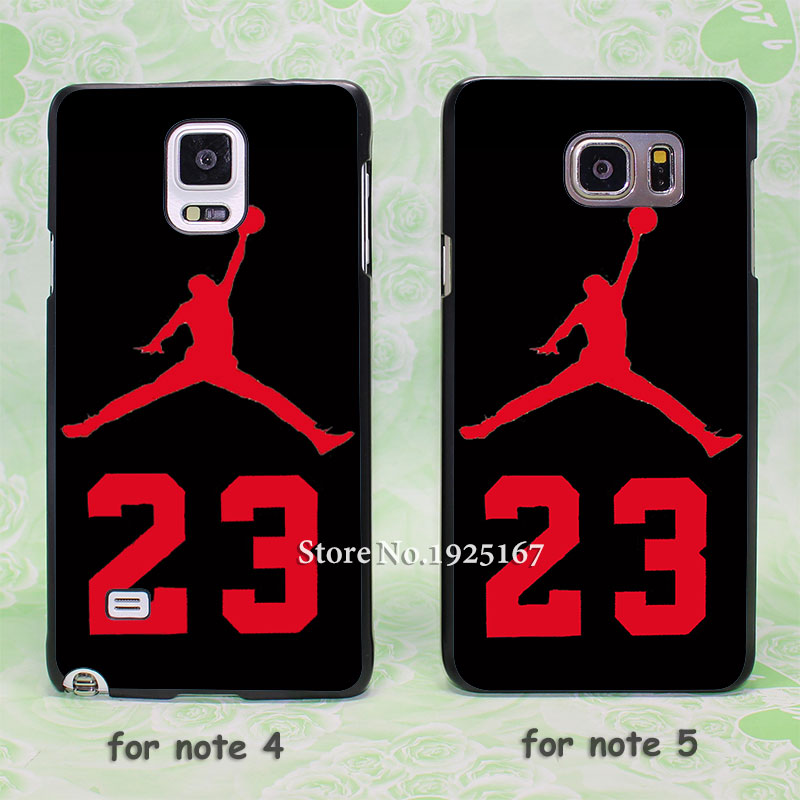 red Jordan Number 23 logo hard black Case Cover for samsung galaxy note 2 3 4 5 s6edge plus(China (Mainland))