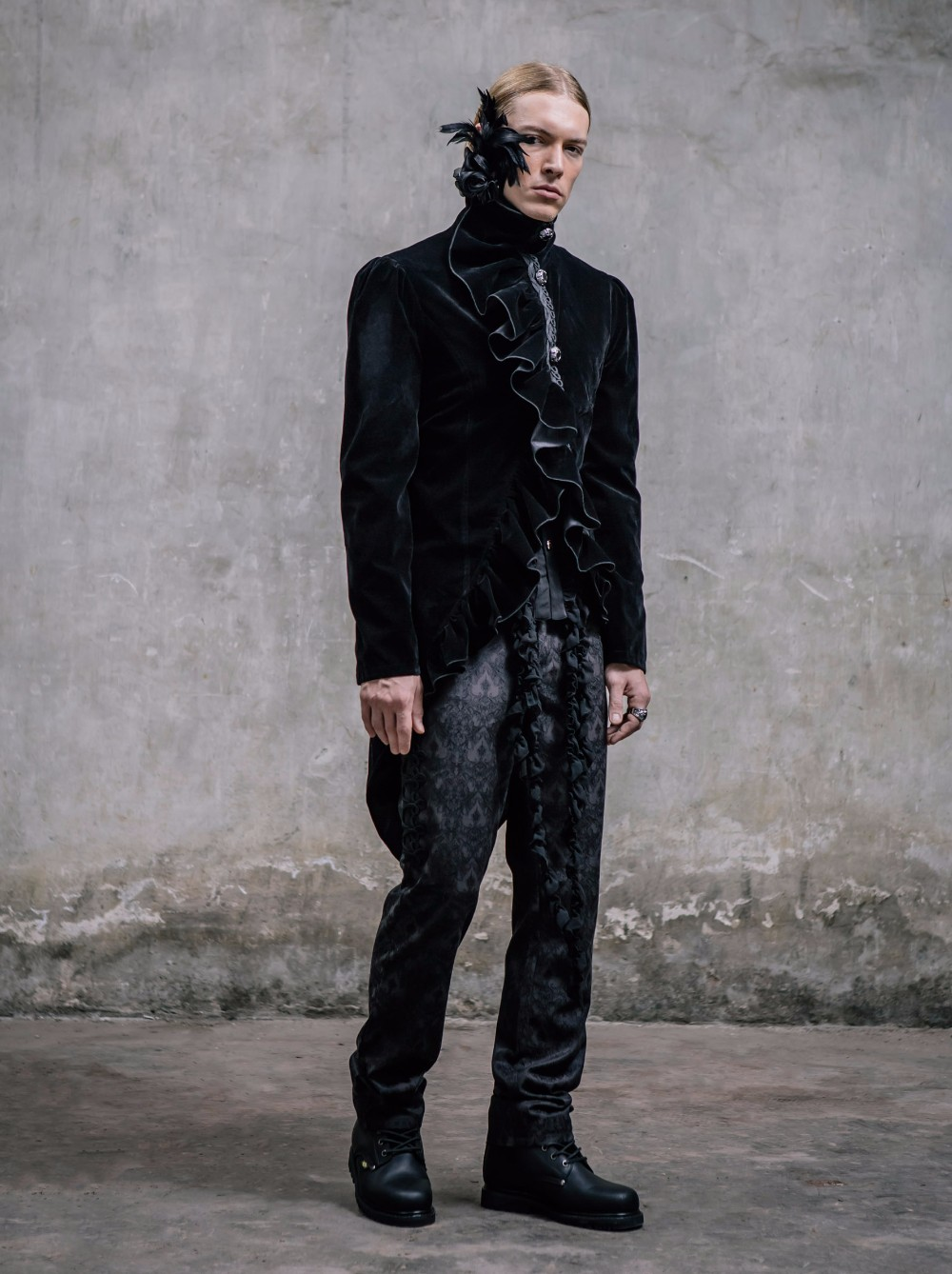 Black Velvet  Male Aristocrat Jackets Steampunk