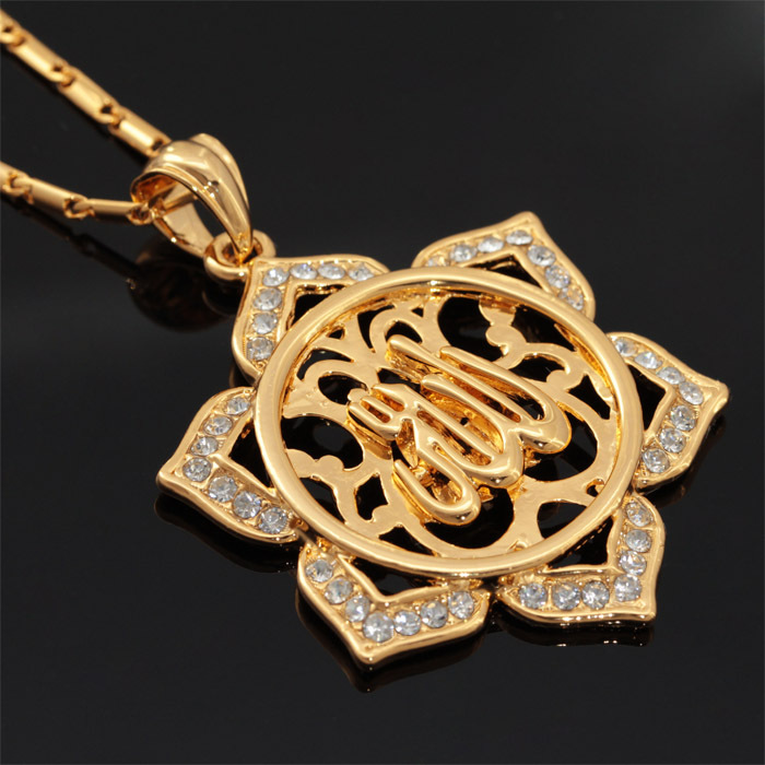 Allah Necklaces Pendants Free Shipping 18K Real Gold Plated Rhinestone Vintage flower pendant necklace gold Women gift P580(China (Mainland))