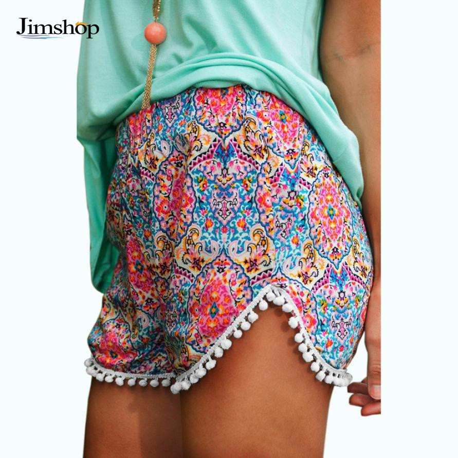 Jimshop Fashion Hot Women's High Waist Tassel Floral Print Beach Casual Mini Shorts Short Pants - Store store