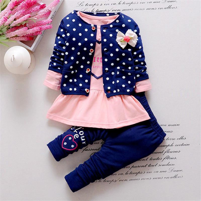 New Dot Set Bow baby girl outfits clothing Sets kids 3PCS coat+ T shirt + Pants children Cute Princess Heart-shaped Print(China (Mainland))