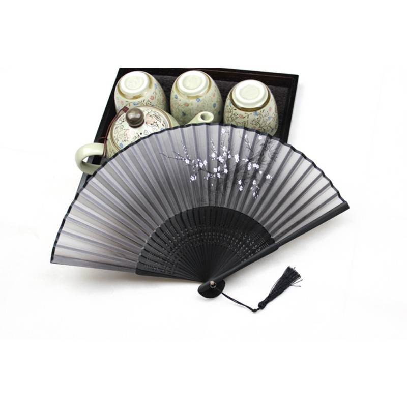 Black Chinese Japanese Folding Hand Held Fan Silk&Bamboo Flower Pocket Fan(China (Mainland))