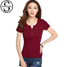 Buy Button Tshirt Women T Shirt 2017 Summer Tops Short Sleeve T-Shirt Poleras De Mujer Plus Size Korean Clothes Tee Shirt Femme 4XL for $8.49 in AliExpress store