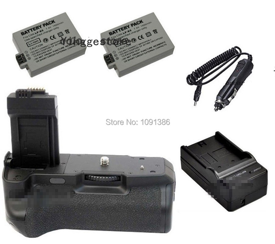 Battery Grip Vertical For Canon EOS 450D 500D 1000D Rebel XSi T1i XS Camera as BG-E5 BGE5 + IR Remote + 2 x LP-E5 + Car Charger(China (Mainland))