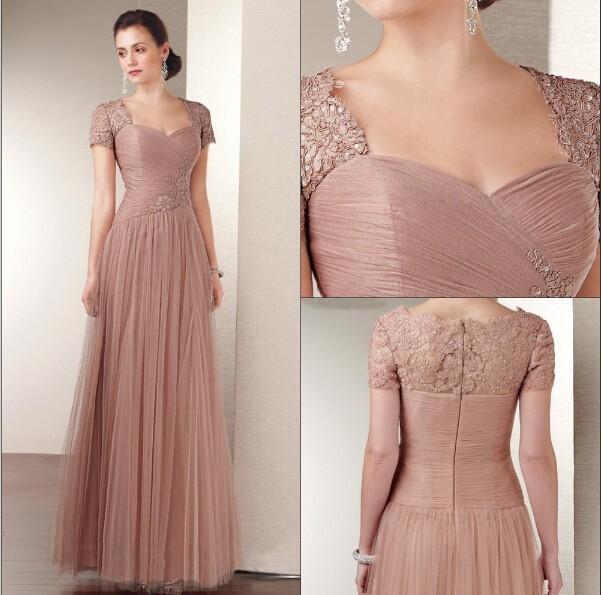 Короткие рукава молния назад платье-линии тюль мать невесты длиной до пола с КружевоApplique ...