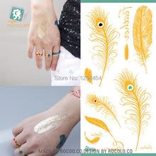feather tattoos flash tatoo metalica nova impermeável tatuagem temporária maquiagem body art metallic makeup  adesivos V4007 grátis frete(China (Mainland))