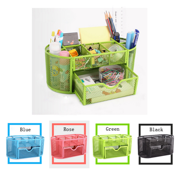 Desk Organizer 9 Compartments Metal Mesh Desktop Office Pen Pencil Holder Stand Stationary Container(China (Mainland))