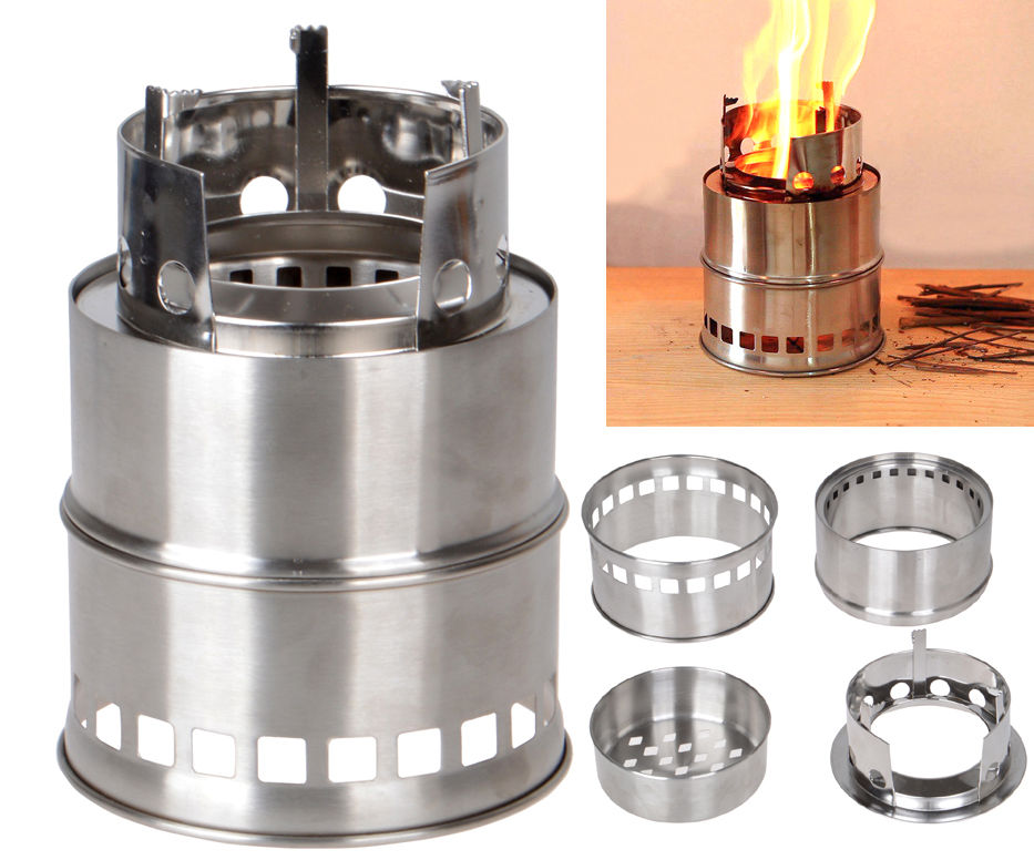 Stainless steel outdoor portable wood stove backpacking