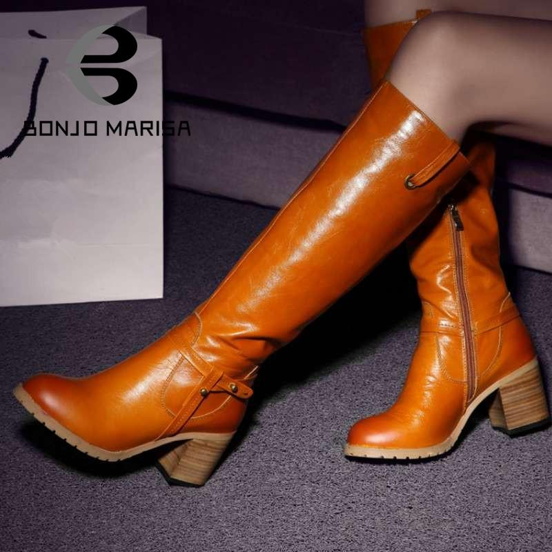 Genuine Leather Boots Shoes Vintage Heels Platform Oil Leather Warm Long Snow Winter Knee High Motorcycle Boots for Women<br><br>Aliexpress