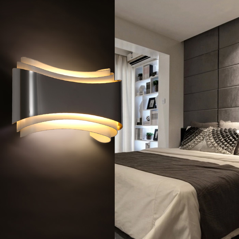 Modern led sconce wall lights for bedroom study room Stainless steel+Acrylic 5W home decoration wall lights lamp fixtures<br><br>Aliexpress