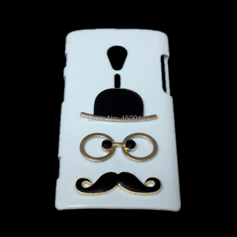 Fashion Back Case For Sony Xperia ion Lt28i, Free Shipping 3D Cute Unique Hat Beard Mustache Glasses Designed White Hard Cover(China (Mainland))