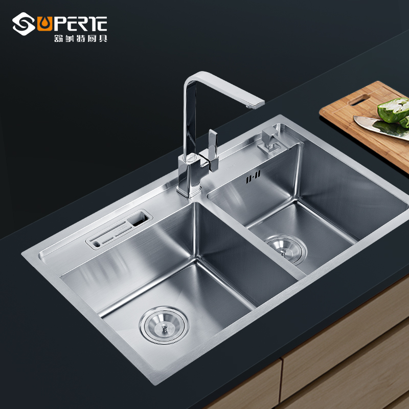 Free Shipping/Stainless Steel Sink Double Groove Vegetable Washing Basin Kitchen Manual Single Tank Sink(China (Mainland))