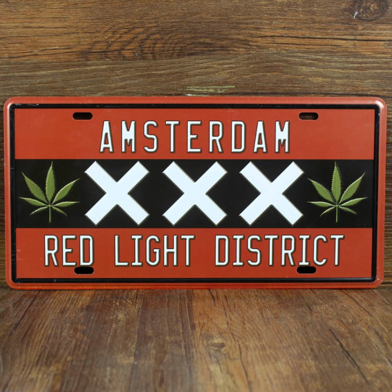 """SYF-A090 Retro license Car plates letter """" RED LIGHT DISTRICT """" vintage metal tin signs garage painting plaque Sticker 15x30cm(China (Mainland))"""