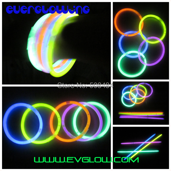 free shipping 10000pcs/lot 5 colors mixed 8inches(5*200mm) glow stick glow bracelet light up bracelet for party, dj, club(China (Mainland))