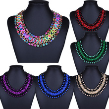 1PC Charming Womens Bohemian Statement Chain Weaved String Beads Bib Choker Collar Necklace (China (Mainland))