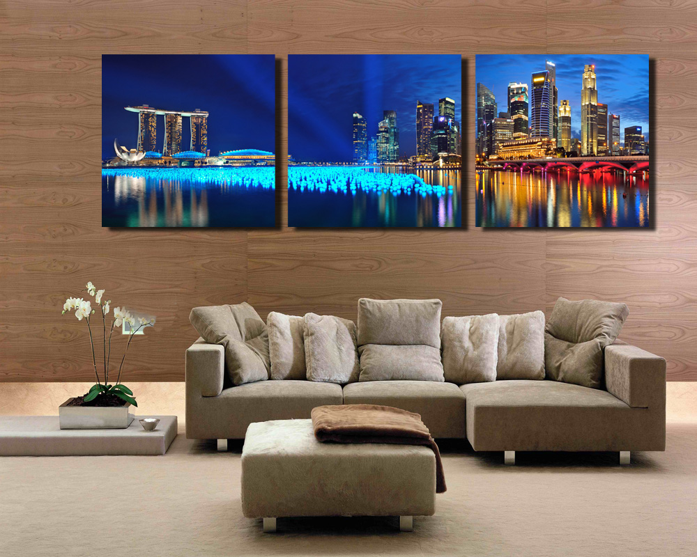 3 Panel Singapore Night Scene Hd Wall Art Picturetop Rated Canvas Print Painting For Living Room