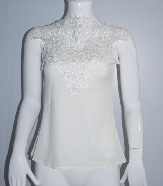 Женская мода Белое кружево блузка без рукавов спинки blusas feМиниnas camisas бранка ...