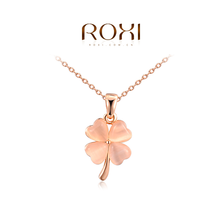 ROXI 2014 New Fashion Jewelry Rose Gold Plated Statement Flower Clover Opal Necklace For Women Party