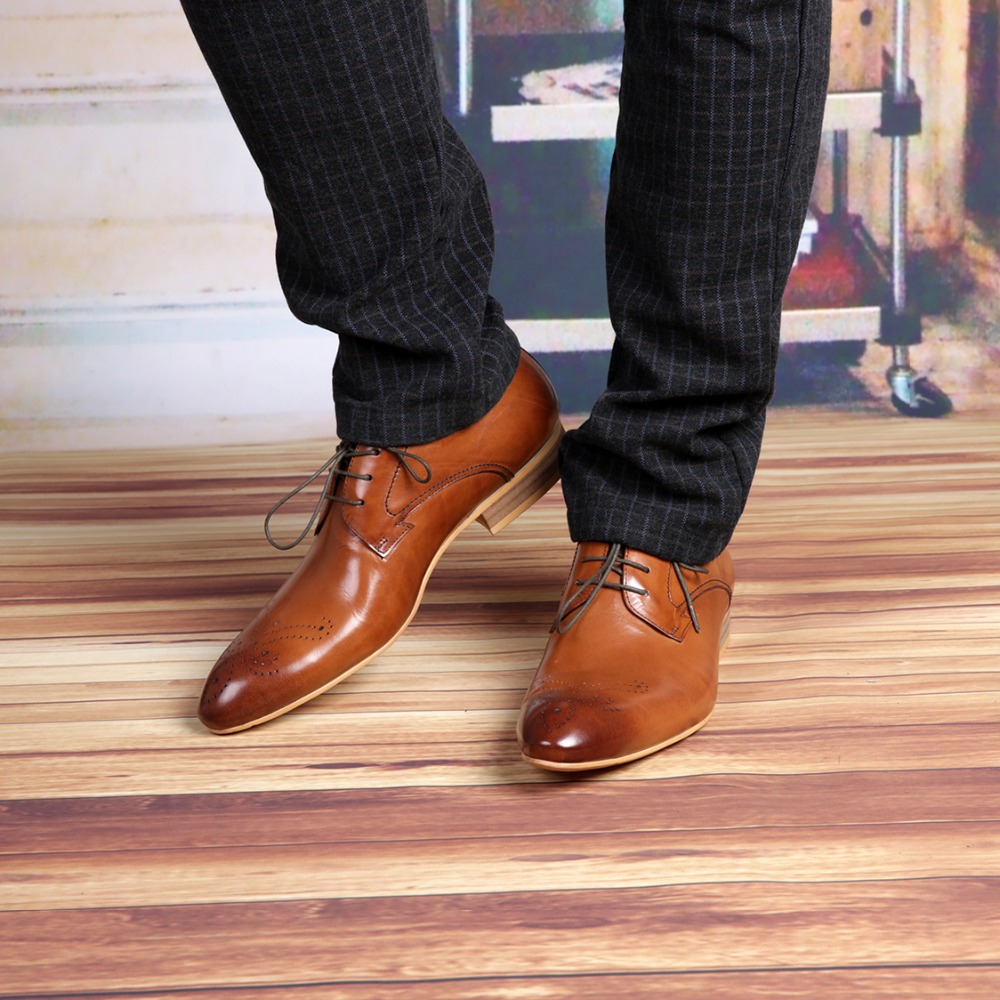Buy fashion brown black mens business shoes genuine for Black shoes with wedding dress