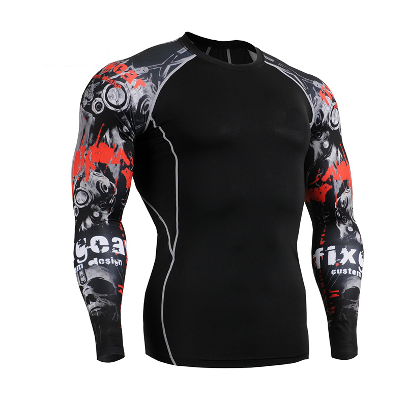 2016 New Gym Fitness Compression Shirt Men Punisher Skull Sport T Shirt Bodybuilding Training Tight Long Sleeve t-shirt Clothing(China (Mainland))