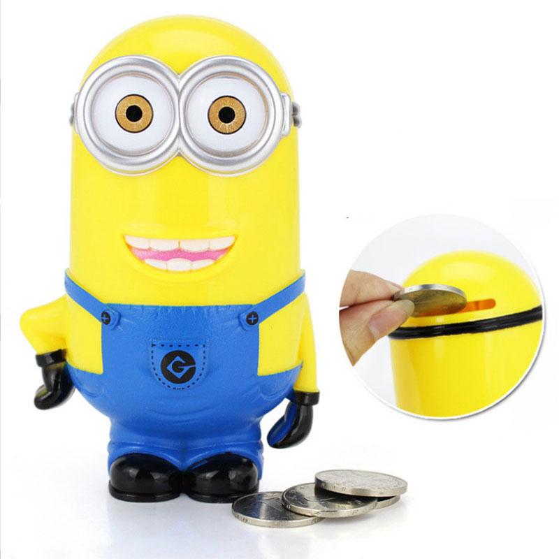 Hot! Little yellow man piggy bank , funny lovely money box high qulity plastic cartoon minions piggy bank(China (Mainland))