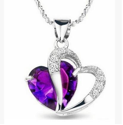2016 New Best Gift Top Quality Fashion Class Women Girls Lady Heart Crystal Amethyst Maxi Statement Pendant Necklace NEW Jewelry(China (Mainland))
